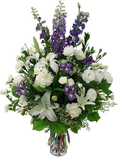 Sympathy tropical flower design white and purple flowers in a vase mightylinksfo